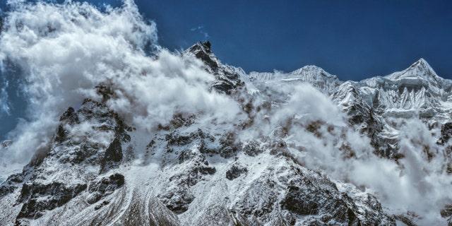 Scenic panorama of majestic mountain wall of Kanchenjunga in Himalayas, Nepal