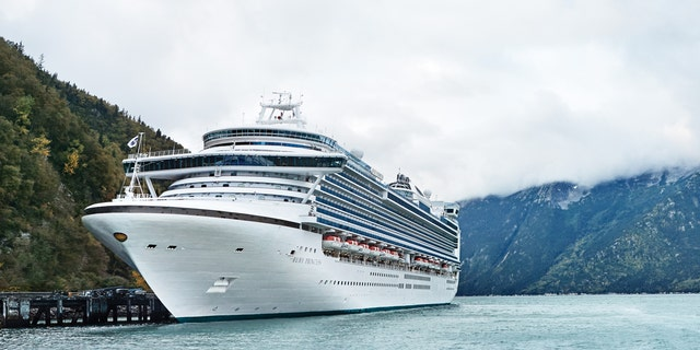 The Ruby Princess sails through Alaska.