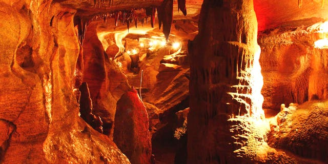 Spectacular cave formations of Rickwood Caverns in Alabama.