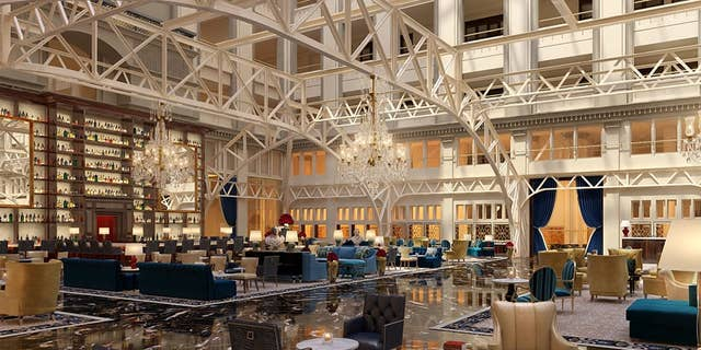 Inside the grand lobby of the newly renovated property.