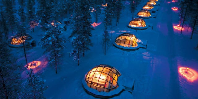 C1GY7Y Kakslauttanen Hotel - Finland  When you tire of the endless sandy beaches and azure waters of warm climates, but you are not
