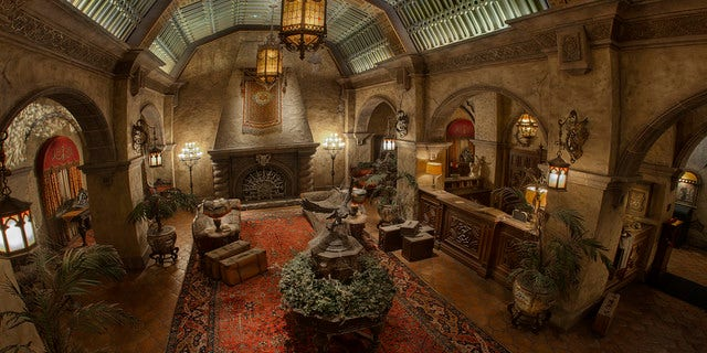 Inside the hotel's haunted lobby.