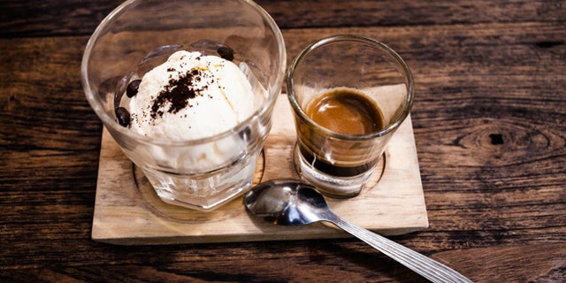 Affogato with Ice Cream and Coffee.