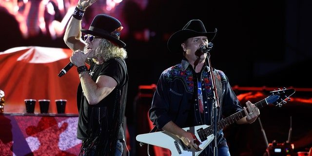 Big Kenny (L) and John Rich of Big & Rich perform during the Route 91 Harvest country music festival at the Las Vegas Village on October 1, 2017 in Las Vegas, Nevada.