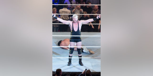 Jack Swagger competes in the ring against Bo Dallas at the Road to WrestleMania at the Lanxess Arena on February 11, 2016 in Cologne, Germany.
