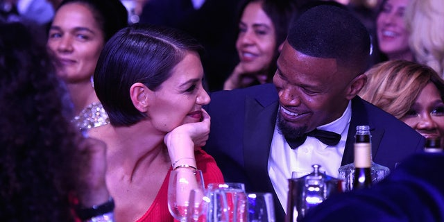 Katie Holmes and Jamie Foxx attend a Clive Davis and Recording Academy Pre-Grammy Gala and Grammy Salute to Industry Icons Honoring Jay-Z on Jan 27, 2018 in New York City.