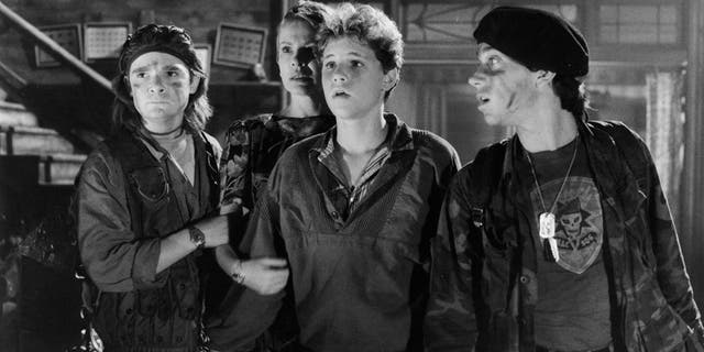 "From l-r: Corey Feldman, Dianne Wiest, Corey Haim and Jamison Newlander in a scene from the film ""The Lost Boys"" in 1987."