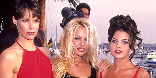 "Actress Alexandra Paul (left), actress Pamela Anderson (center) and actress Yasmine Bleeth attend ""Baywatch"" 100th Anniversary Celebration on October 22, 1994 at the Ritz-Carlton Hotel in Marina del Rey, California."