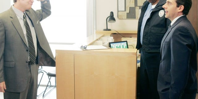"From l-r: Rainn Wilson, Hugh Dane and Steve Carell in a scene from ""The Office."""