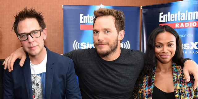 "Director James Gunn, left, with ""Guardians of the Galaxy"" stars Chris Pratt, center, and Zoe Saldana."