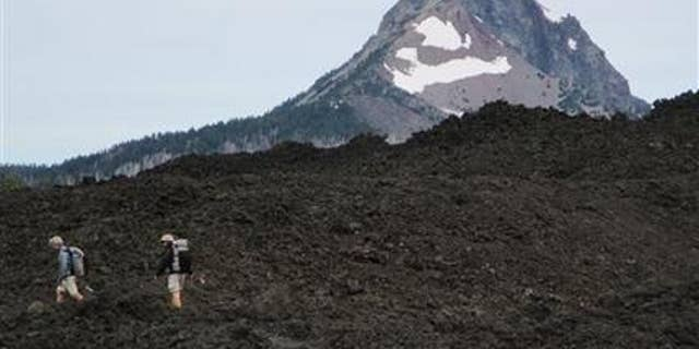 """FILE - In this July 21, 2014 file photo, hikers make their way along the Pacific Crest Trail near Bend, Ore. with Mount Washington in the background. The popularity of author Cheryl Strayed's memoir """"Wild: From Lost to Found on the Pacific Crest Trail"""" has led to increased awareness and use of the trail that runs from Canada to Mexico through Washington, Oregon and California. The movie """"Wild,"""" which scored two Oscar nominations, has also increased interest in the trail. (AP Photo/The Bulletin, Mark Morical, File)"""