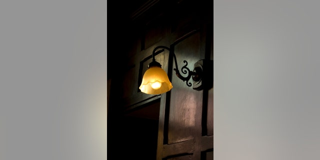 An old fashioned, wall-mounted, lamp shade