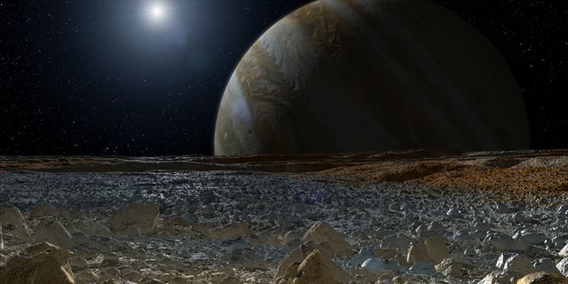 A simulated view from the surface of Europa, one of Jupiter's four Galilean moons.
