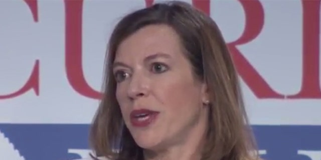 Evelyn Farkas, who left the Obama administration in 2015 after serving as a deputy assistant secretary of defense, speaks on a panel at the Aspen Security Forum in Colorado.