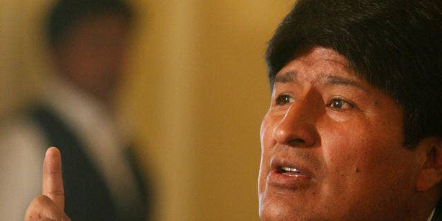 Bolivian president Evo Morales gestures during a press conference with foreign press in La Paz, Bolivia.