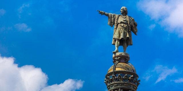 The Columbus Monument on the square Portal de la pau in Barcelona, Catalonia, Spain  was originally erected in 1888.