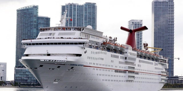 The Carnival cruise ship Ecstasy leaves port in Miami, Fl. Miami is one of the nation's top destinations for cruise companies.