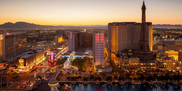 Aerial view over Las Vegas close to sunset at twilight. Las Vegas, Nevada, USA