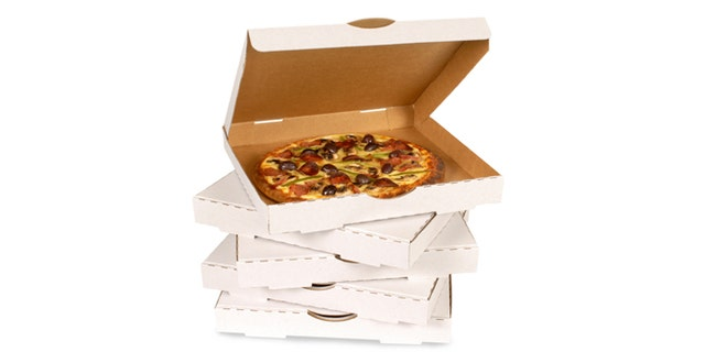 Pizza in plain open box isolated against white (clipping path provided).
