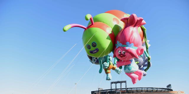 DreamWorks' Trolls flies at Macy's Balloonfest in preparation for the 90th anniversary of Macy's Thanksgiving Day Parade at Citi Field on Nov. 5, 2016 in New York City.