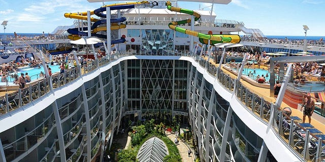 The stunning interior boats 16 decks and a capacity for over 6,360 guests.