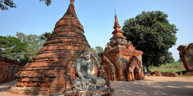 The Buddhist temples of Ava are a popular cultural and religious site in Myanmar.