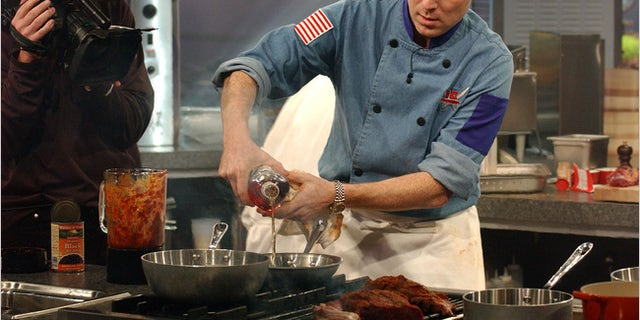 """Bobby Flay in the """"Iron Chef America"""" kitchen."""