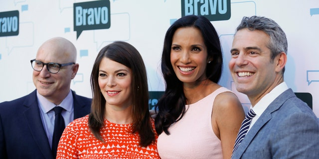 "(L-R) Head ""Top Chef' judge Tom Colicchio, judge Gail Simmons, host Padma Lakshmi and producer Andy Cohen."