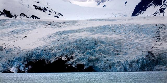 Blue Icy Portage Glacier Mountain Anchorage AlaskaThe blue is from the glacier.