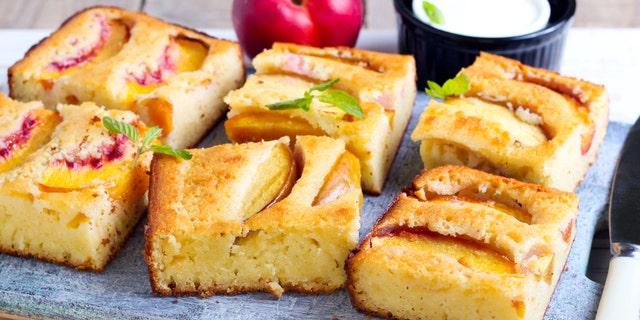 Slices of nectarine polenta cake