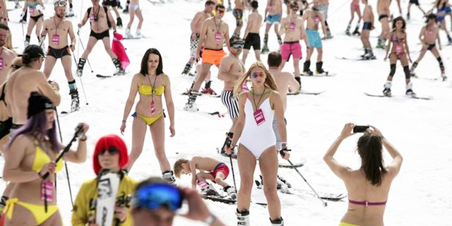 Bikini-clad skiers brighten up the Sochi slopes in spring.