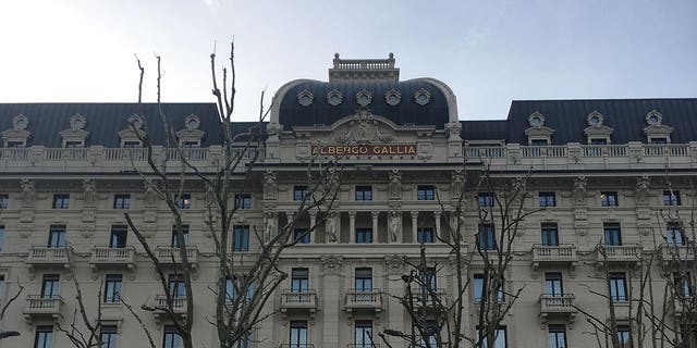The exterior of the Excelsior Gallia faces the Milano Centro station.