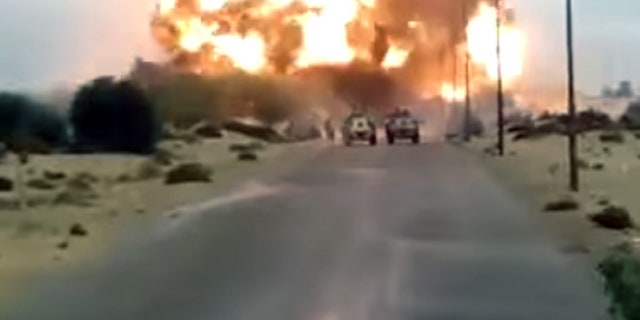 Video purportedly showing an attack on an Egyptian army truck convoy appeared online Wednesday.