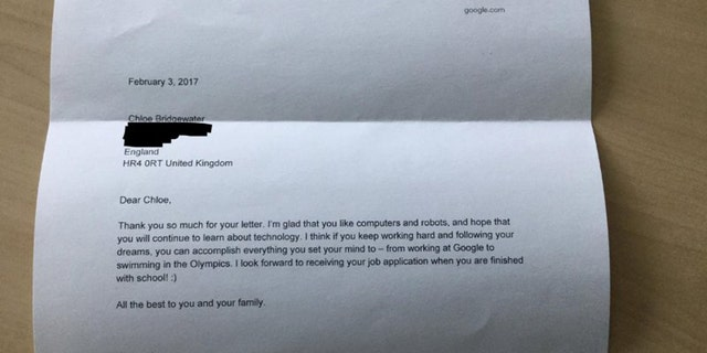 Letter from Google CEO Sundar Pichai.