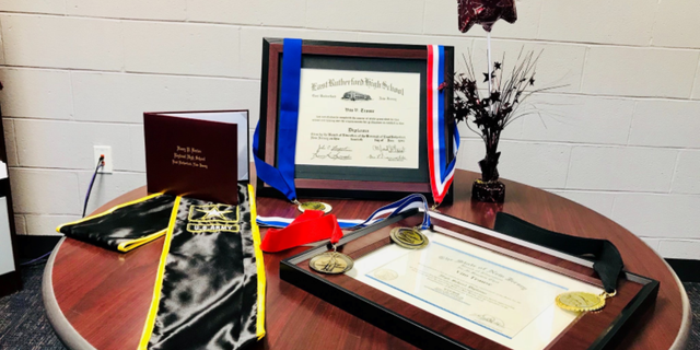 Principal Sforza created replicas of four awards Vito Trause received during his military service: the Good Conduct Medal, the World War II Victory Medal, the American Campaign Medal and the European-African-Middle Eastern Campaign Medal with three Bronze Stars.