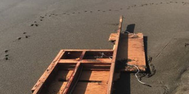 The debris was found on a beach near Pacifica, located about 15 miles south of San Francisco.