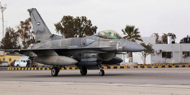 An F16 fighter jet from the United Arab Emirates (UAE) arrives at an air base in Jordan February 8, 2015.