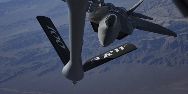 An F-22 Raptor fighter jet assigned to the 27th Fighter Squadron at Joint Base Langley-Eustis, Virginia, approaches an in-flight refueling boom during Red Flag 18-1 over the Nevada Test and Training Range Feb. 7, 2018. Red Flag provides pilots with training using real-time war scenarios