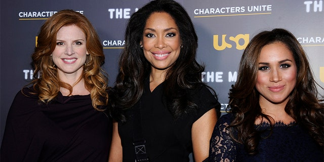 Actresses Sarah Rafferty, Gina Torres and Meghan Markle attend the USA Network and The Moth's Characters Unite Event in West Hollywood, Feb. 15, 2012.