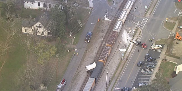 A train struck a truck that was stuck at a crossing in Georgia.