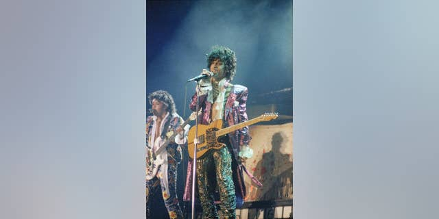 FILE - In this 1985 file photo, singer Prince performs in concert. Prince's old band is reuniting for some live shows following his death. Members of the Revolution made the announcement in a video posted online Tuesday, April 26, 2016. (AP Photo, File)