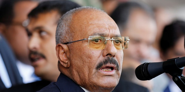 Yemen's former President Ali Abdullah Saleh addresses a rally held to mark the 35th anniversary of the establishment of his General People's Congress party.