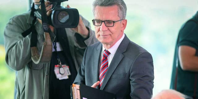 Aug. 17, 2016: German Interior Minister Thomas de Maiziere arrives for a cabinet meeting at the chancellery in Berlin.