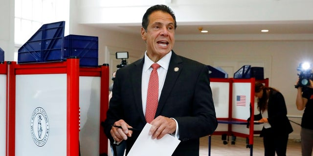 New York Gov. Andrew Cuomo speaks as he marks his primary election ballot at the Presbyterian Church of Mount Kisco on Thursday.