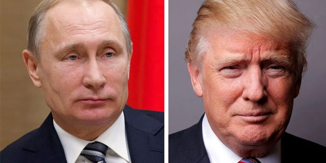 Russian President Vladimir Putin at the Novo-Ogaryovo state residence outside Moscow, Russia, January 15, 2016. and President Donald Trump posing for a photo in New York City, U.S., May 17, 2016.