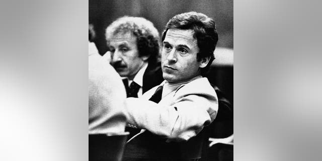 In this April 26, 1979, photo, Ted Bundy leans back before his trial in Tallahassee, Fla. One of the most notorious serial killers in American history, Bundy is believed to have killed at least 30 young women across the United States in the 1970s.