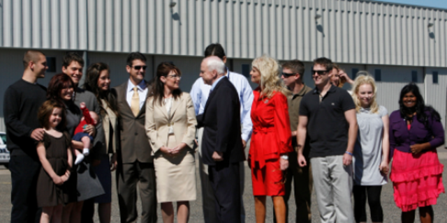 Track Palin, left, pictured with members of the McCain and Palin families ahead of the Republican National Convention in Minneapolis, Minnesota, on Sept. 3, 2008.