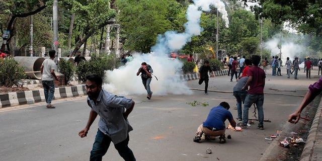 Students in Bangladesh vandalized university buildings, torched two cars and ransacked a fine arts institute, police said.