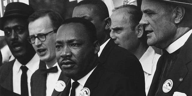 The Civil Rights March on Washington, D.C., with Dr. Martin Luther King Jr. and Mathew Ahmann in a crowd. (NARA - 542015 - Restoration.jpg 28 August 1963)