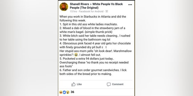 """Photos of the post began circulating on Twitter, with people calling the attacks """"racist"""" and urging people to avoid all Atlanta Starbucks locations."""